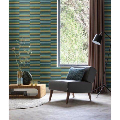 Estancia decorada con papel tapiz para pared de varios color con formas rectángulares